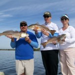 Triple with one spot, two spot, three spot redfish